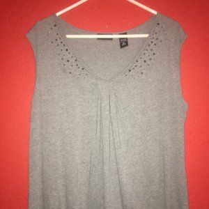Women's XL Gray Tank with Beaded Accents